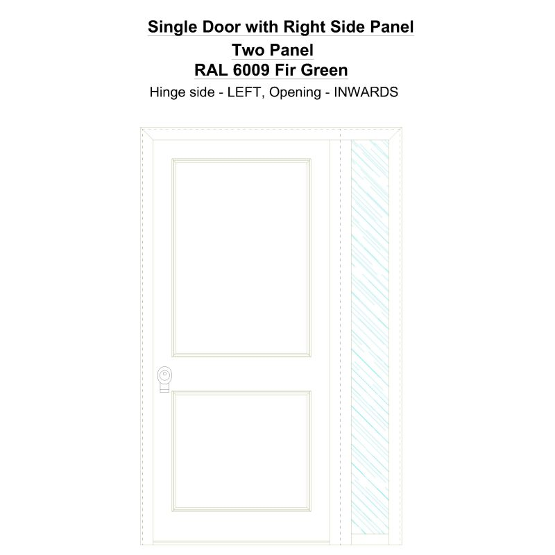 Sd1sp(right) Two Panel Ral 6009 Fir Green Security Door