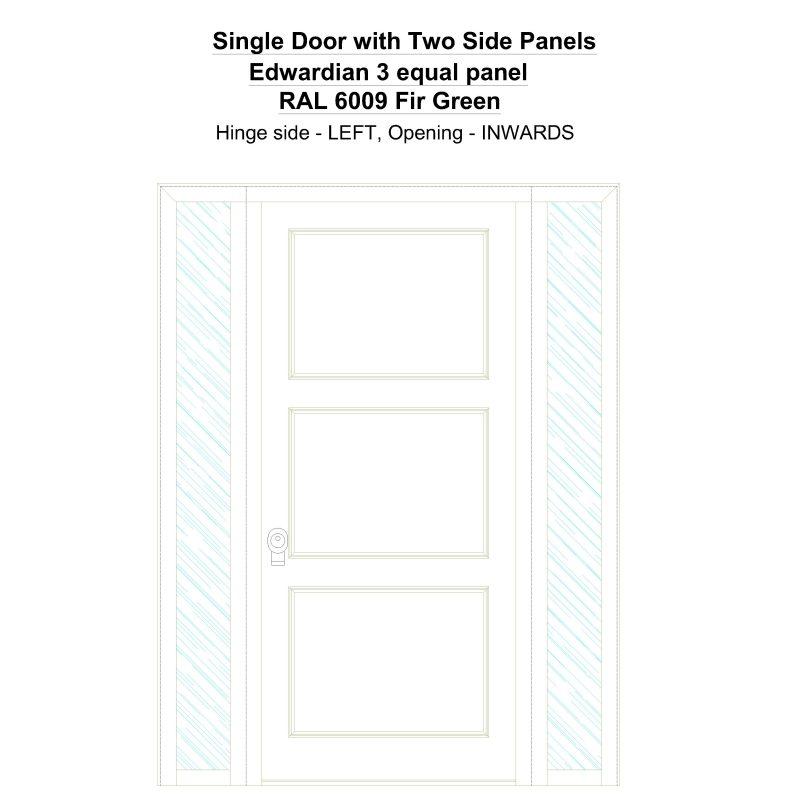 Sd2sp Edwardian 3 Equal Panel Ral 6009 Fir Green Security Door