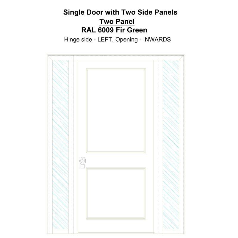 Sd2sp Two Panel Ral 6009 Fir Green Security Door