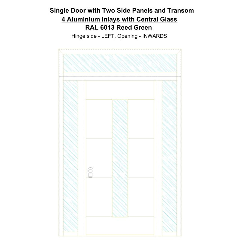Sd2spt 4 Aluminium Inlays With Central Glass Ral 6013 Reed Green Security Door