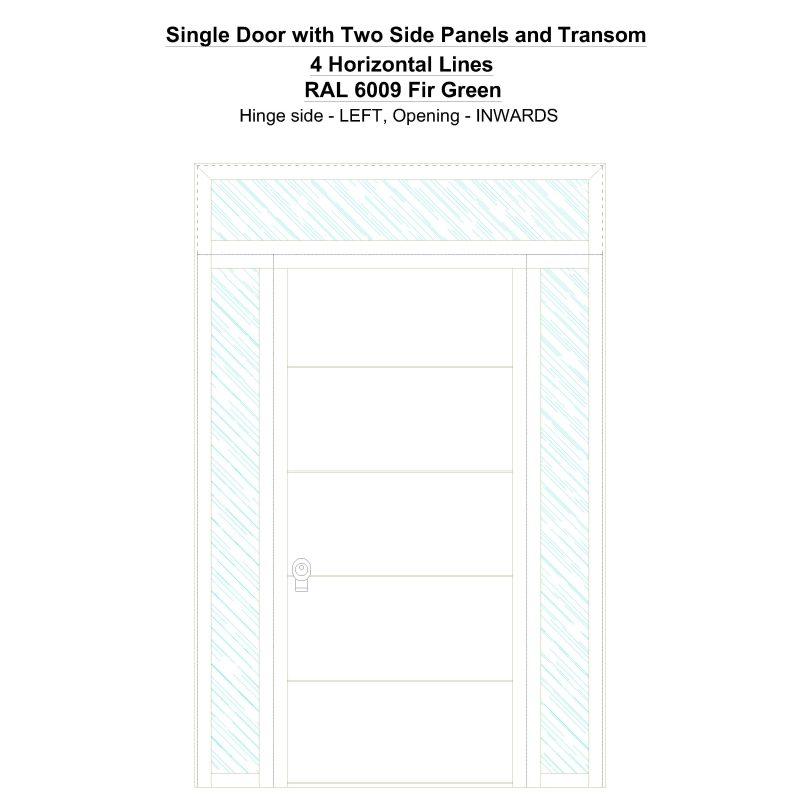 Sd2spt 4 Horizontal Lines Ral 6009 Fir Green Security Door