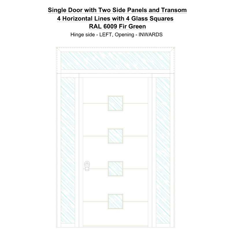 Sd2spt 4 Horizontal Lines With 4 Glass Squares Ral 6009 Fir Green Security Door