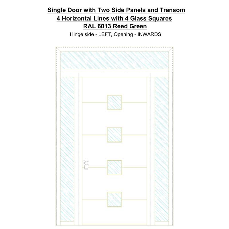Sd2spt 4 Horizontal Lines With 4 Glass Squares Ral 6013 Reed Green Security Door