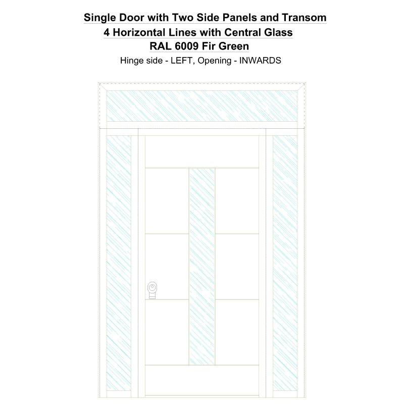 Sd2spt 4 Horizontal Lines With Central Glass Ral 6009 Fir Green Security Door