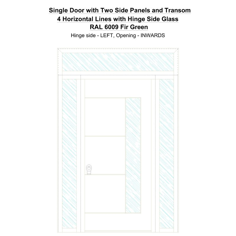 Sd2spt 4 Horizontal Lines With Hinge Side Glass Ral 6009 Fir Green Security Door