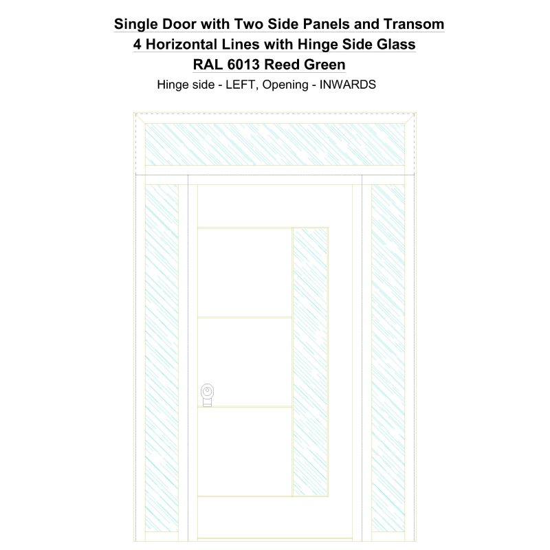 Sd2spt 4 Horizontal Lines With Hinge Side Glass Ral 6013 Reed Green Security Door