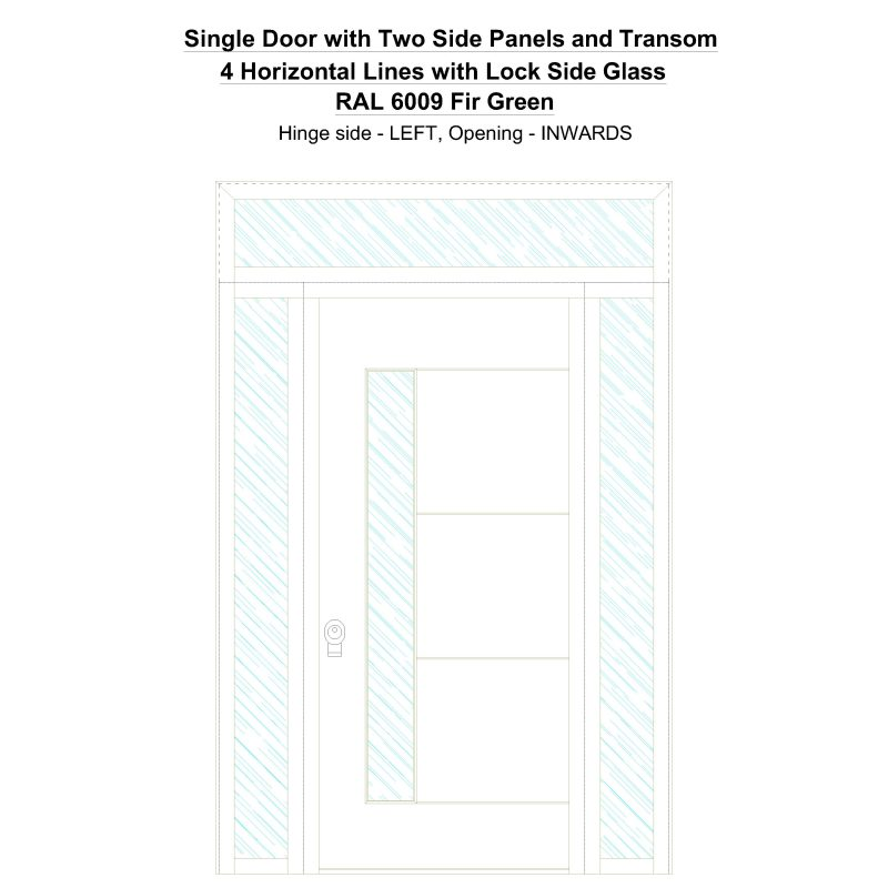 Sd2spt 4 Horizontal Lines With Lock Side Glass Ral 6009 Fir Green Security Door