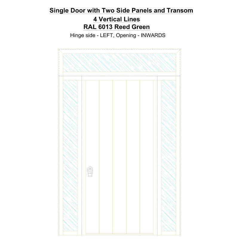 Sd2spt 4 Vertical Lines Ral 6013 Reed Green Security Door