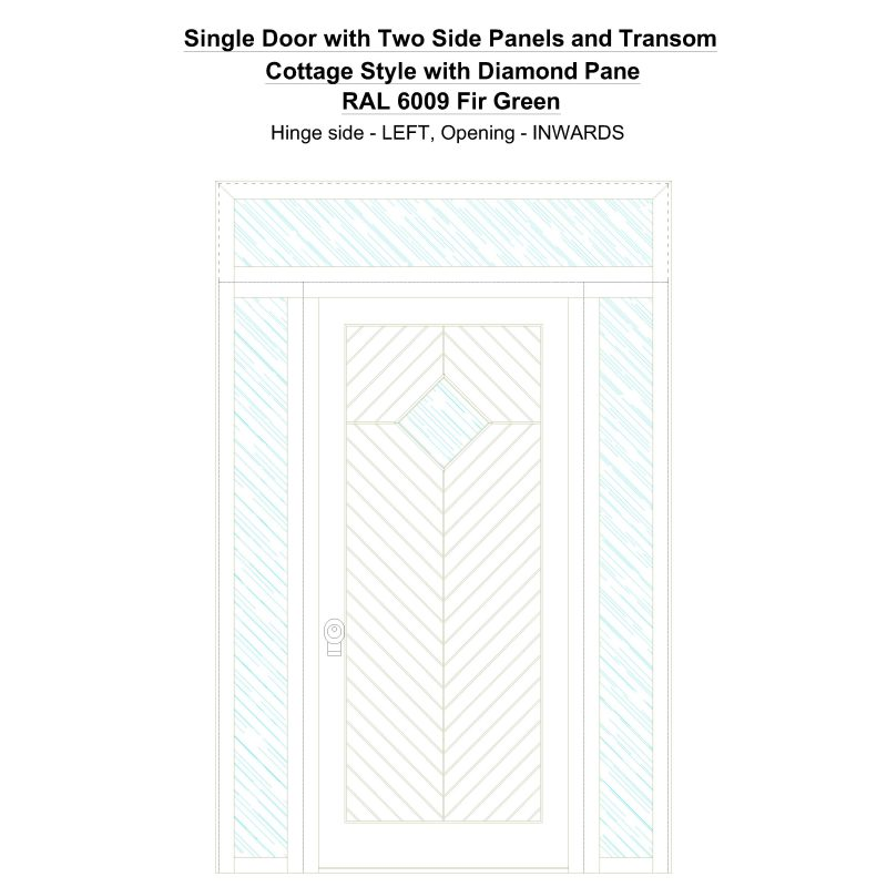 Sd2spt Cottage Style With Diamond Pane Ral 6009 Fir Green Security Door