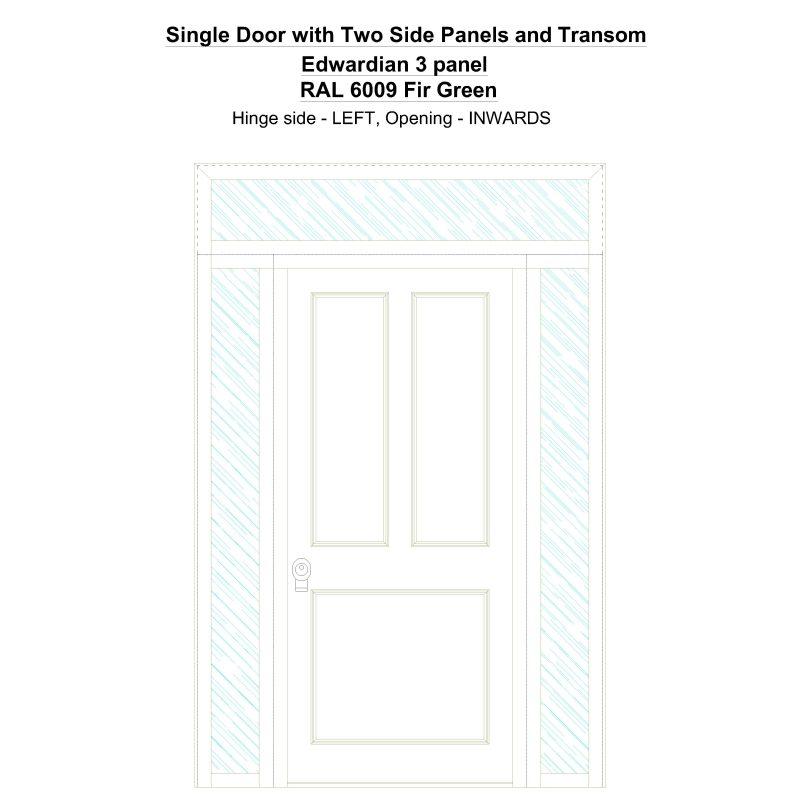 Sd2spt Edwardian 3 Panel Ral 6009 Fir Green Security Door