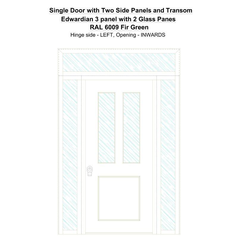 Sd2spt Edwardian 3 Panel With 2 Glass Panes Ral 6009 Fir Green Security Door
