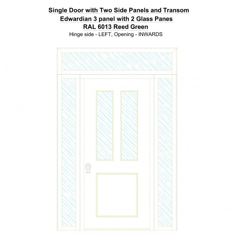 Sd2spt Edwardian 3 Panel With 2 Glass Panes Ral 6013 Reed Green Security Door