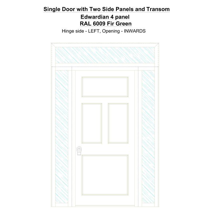 Sd2spt Edwardian 4 Panel Ral 6009 Fir Green Security Door