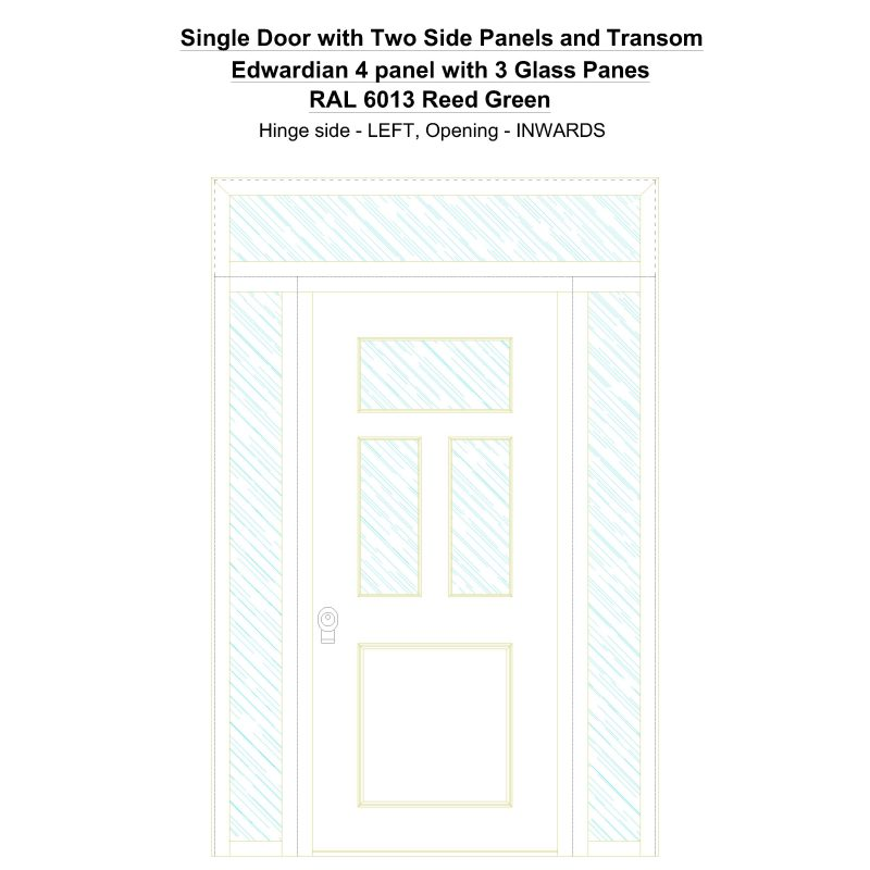Sd2spt Edwardian 4 Panel With 3 Glass Panes Ral 6013 Reed Green Security Door
