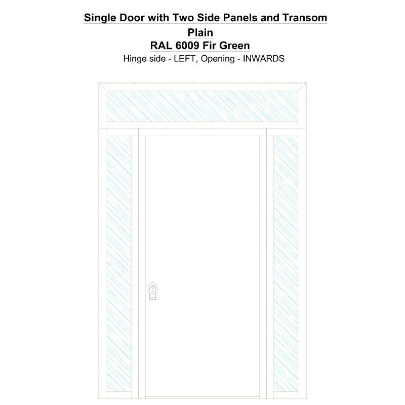 Sd2spt Plain Ral 6009 Fir Green Security Door
