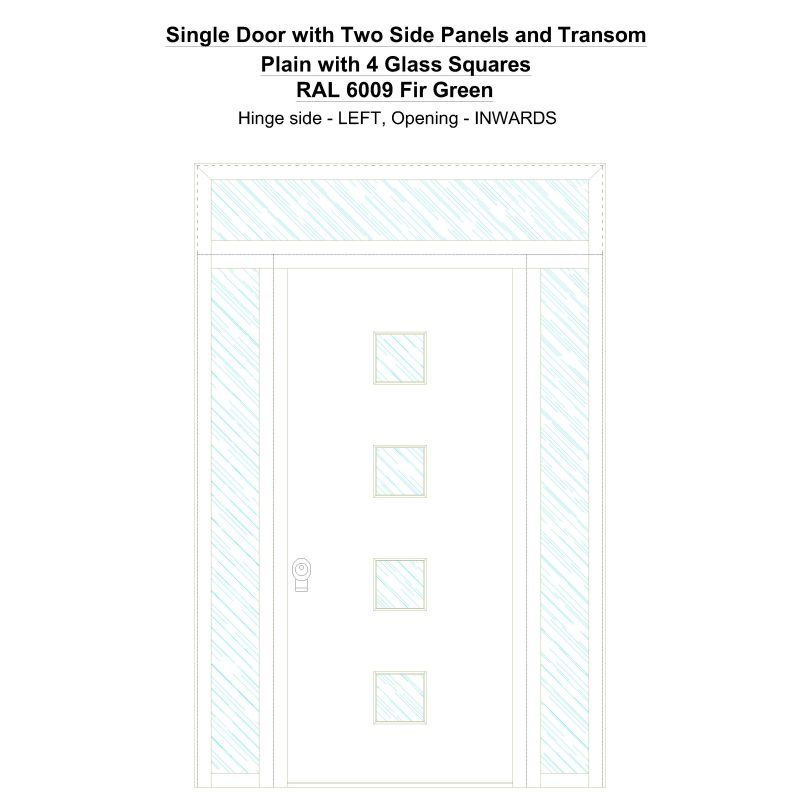 Sd2spt Plain With 4 Glass Squares Ral 6009 Fir Green Security Door