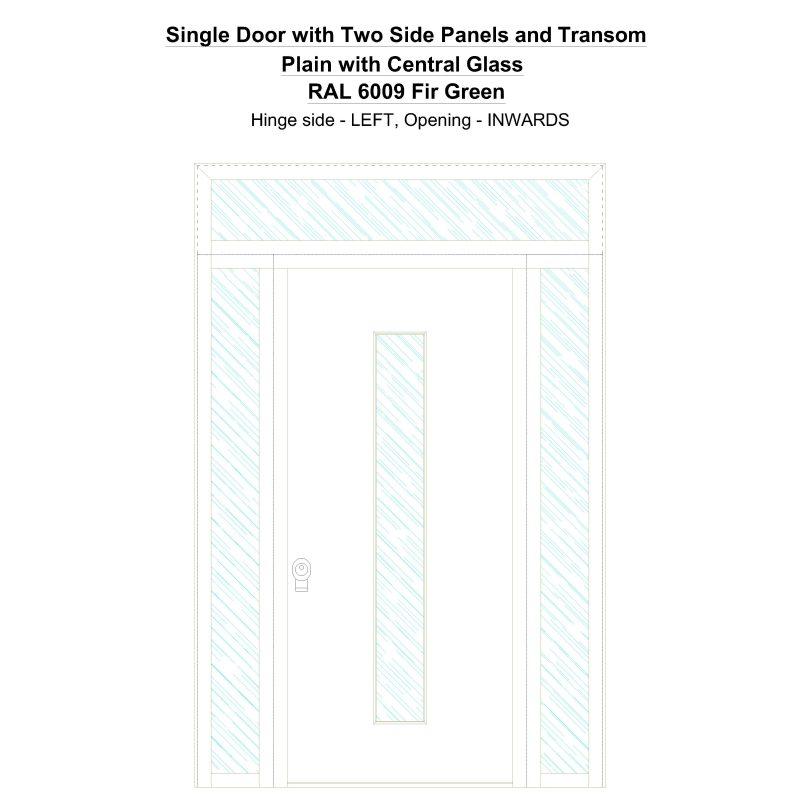 Sd2spt Plain With Central Glass Ral 6009 Fir Green Security Door