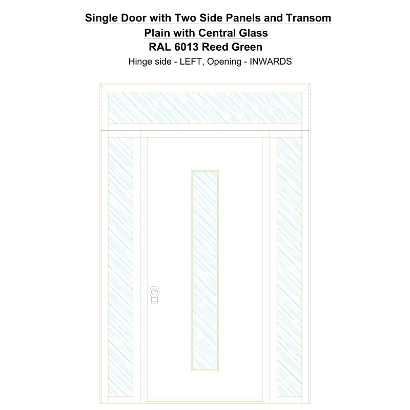 Sd2spt Plain With Central Glass Ral 6013 Reed Green Security Door