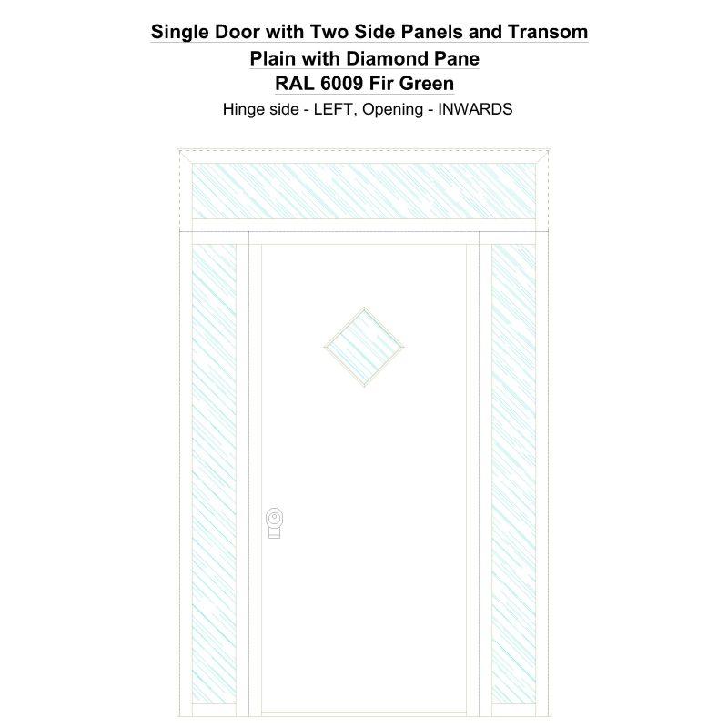 Sd2spt Plain With Diamond Pane Ral 6009 Fir Green Security Door