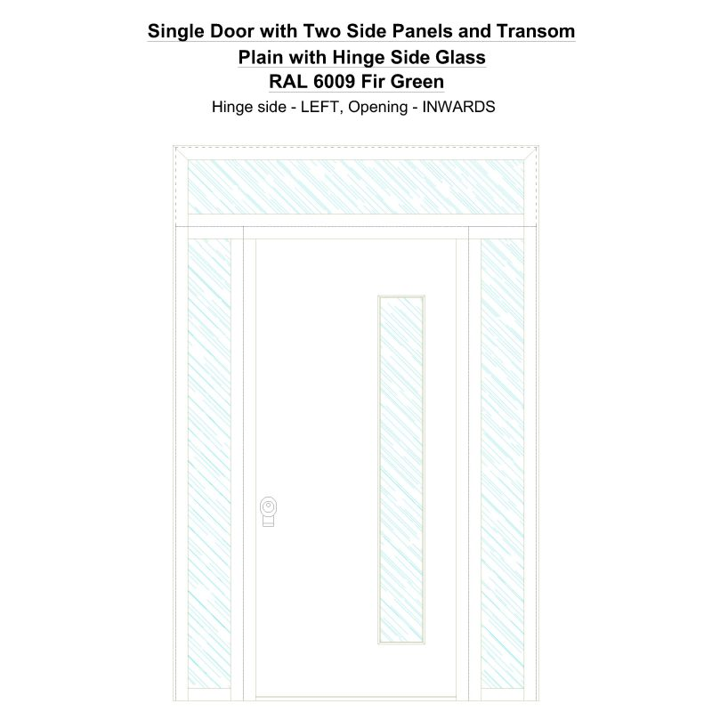 Sd2spt Plain With Hinge Side Glass Ral 6009 Fir Green Security Door