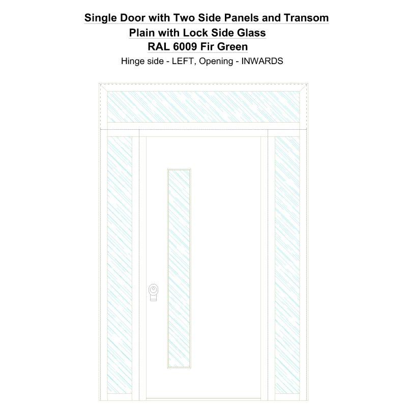 Sd2spt Plain With Lock Side Glass Ral 6009 Fir Green Security Door