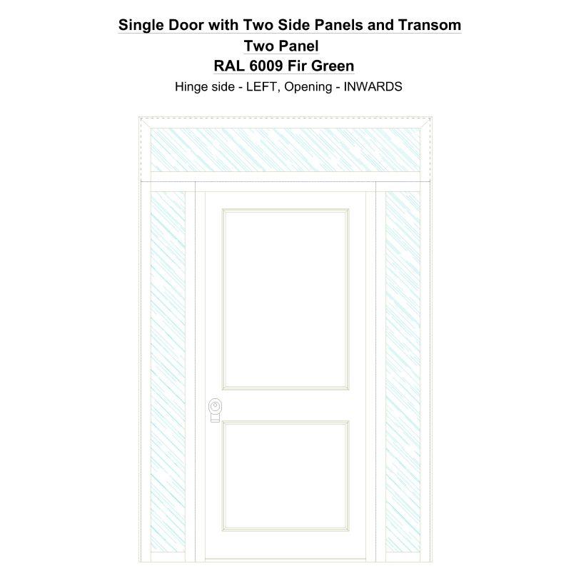 Sd2spt Two Panel Ral 6009 Fir Green Security Door