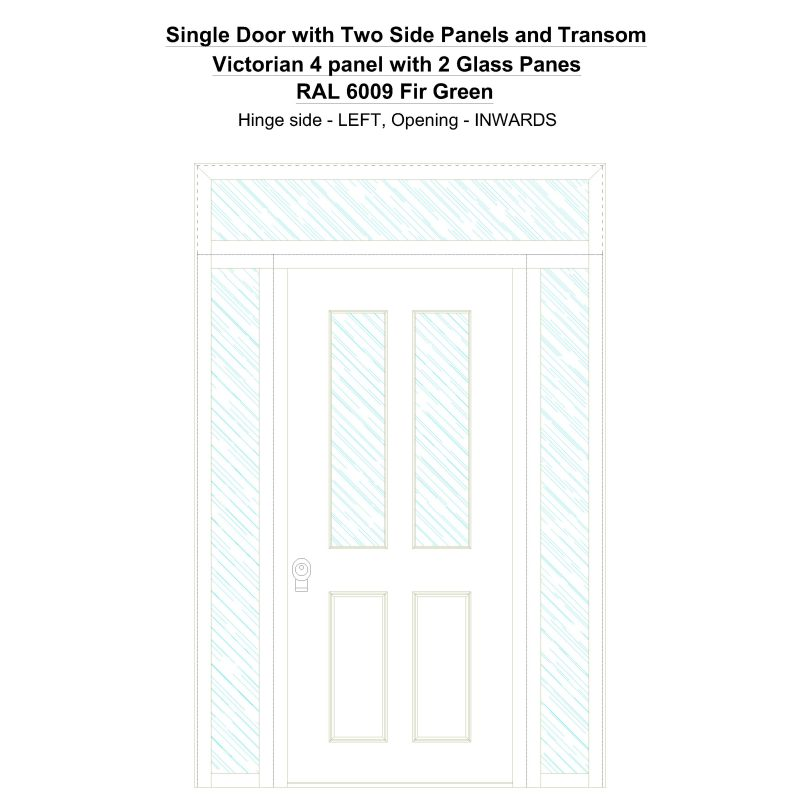 Sd2spt Victorian 4 Panel With 2 Glass Panes Ral 6009 Fir Green Security Door