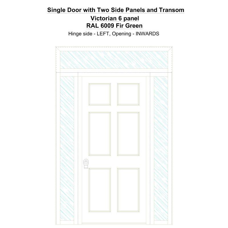 Sd2spt Victorian 6 Panel Ral 6009 Fir Green Security Door