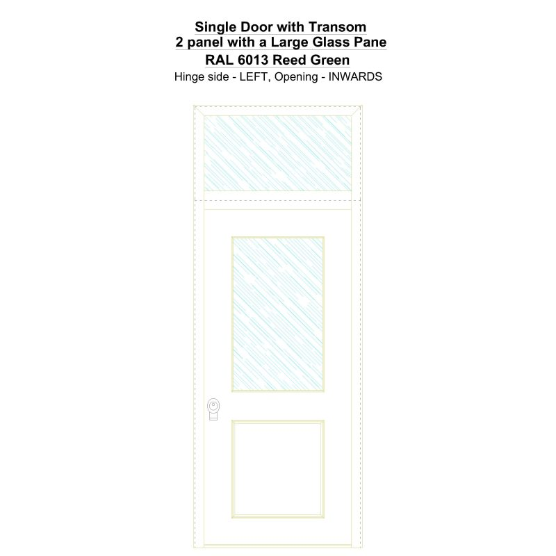 Sdt 2 Panel With A Large Glass Pane Ral 6013 Reed Green Security Door