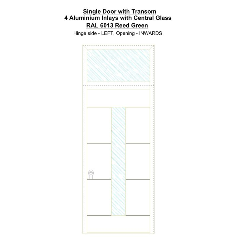 Sdt 4 Aluminium Inlays With Central Glass Ral 6013 Reed Green Security Door