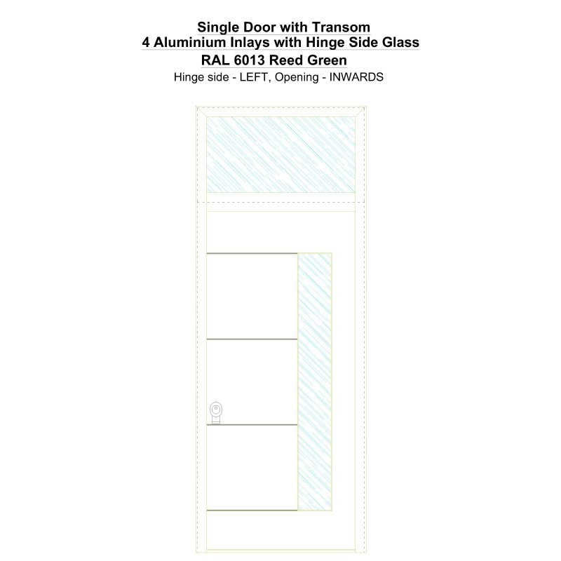 Sdt 4 Aluminium Inlays With Hinge Side Glass Ral 6013 Reed Green Security Door