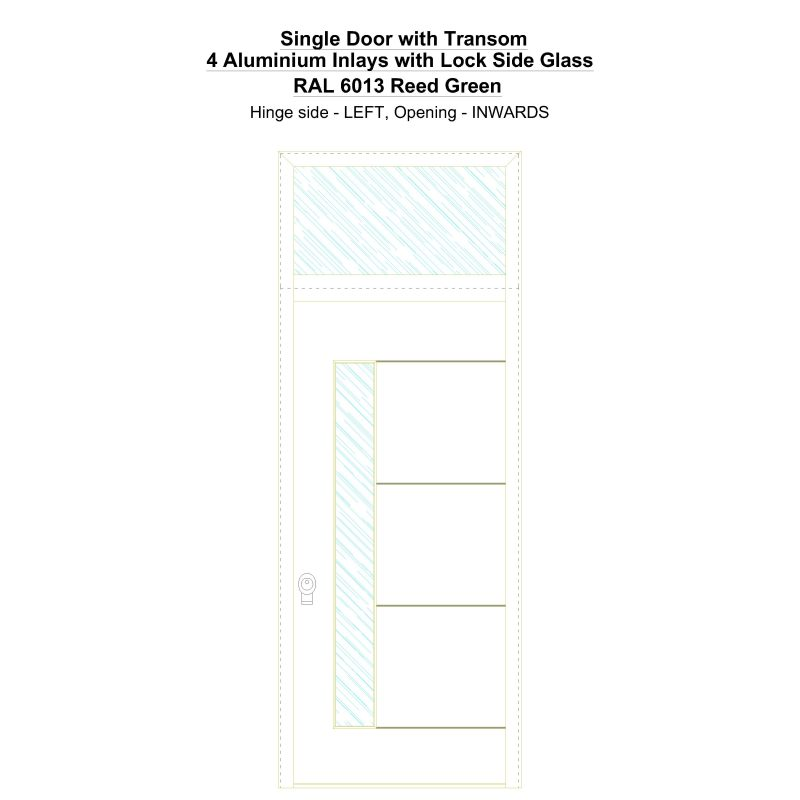 Sdt 4 Aluminium Inlays With Lock Side Glass Ral 6013 Reed Green Security Door