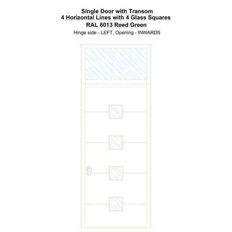 Sdt 4 Horizontal Lines With 4 Glass Squares Ral 6013 Reed Green Security Door