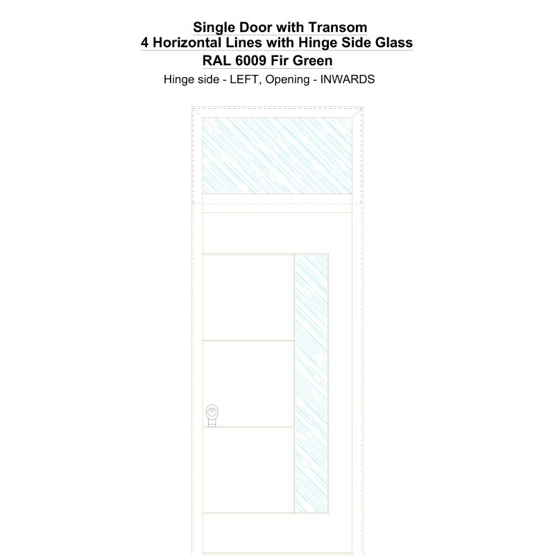 Sdt 4 Horizontal Lines With Hinge Side Glass Ral 6009 Fir Green Security Door