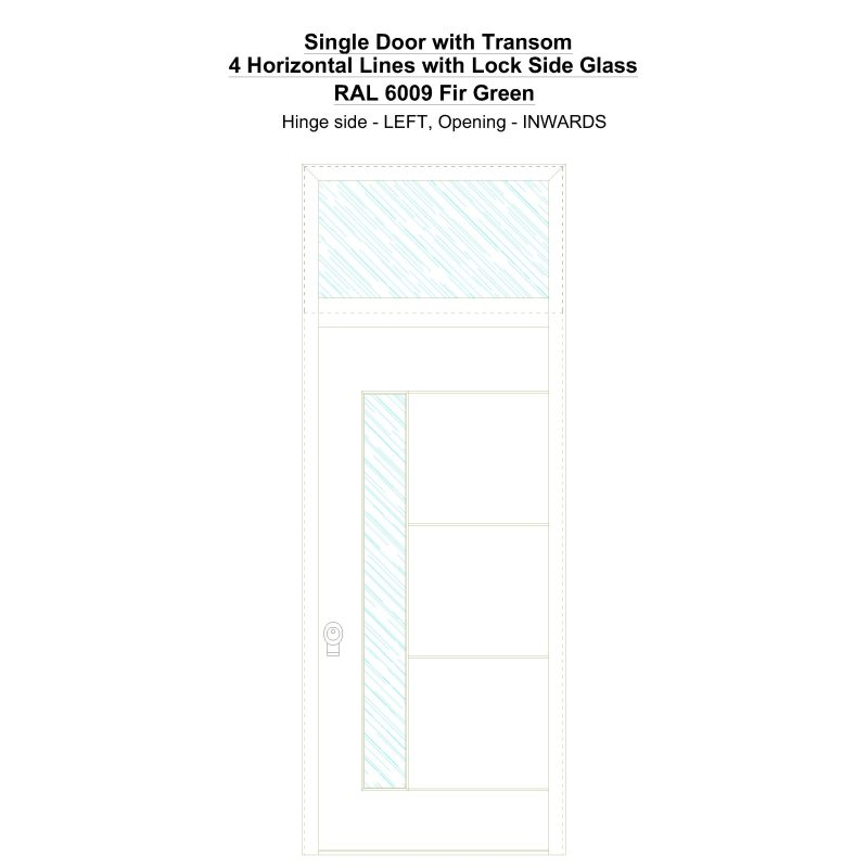 Sdt 4 Horizontal Lines With Lock Side Glass Ral 6009 Fir Green Security Door