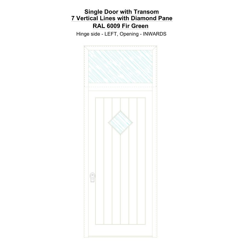 Sdt 7 Vertical Lines With Diamond Pane Ral 6009 Fir Green Security Door
