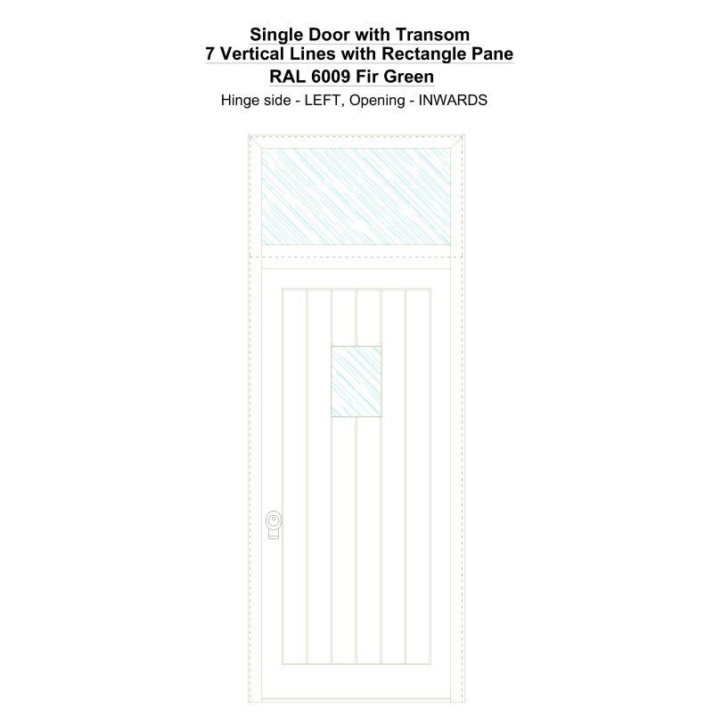 Sdt 7 Vertical Lines With Rectangle Pane Ral 6009 Fir Green Security Door