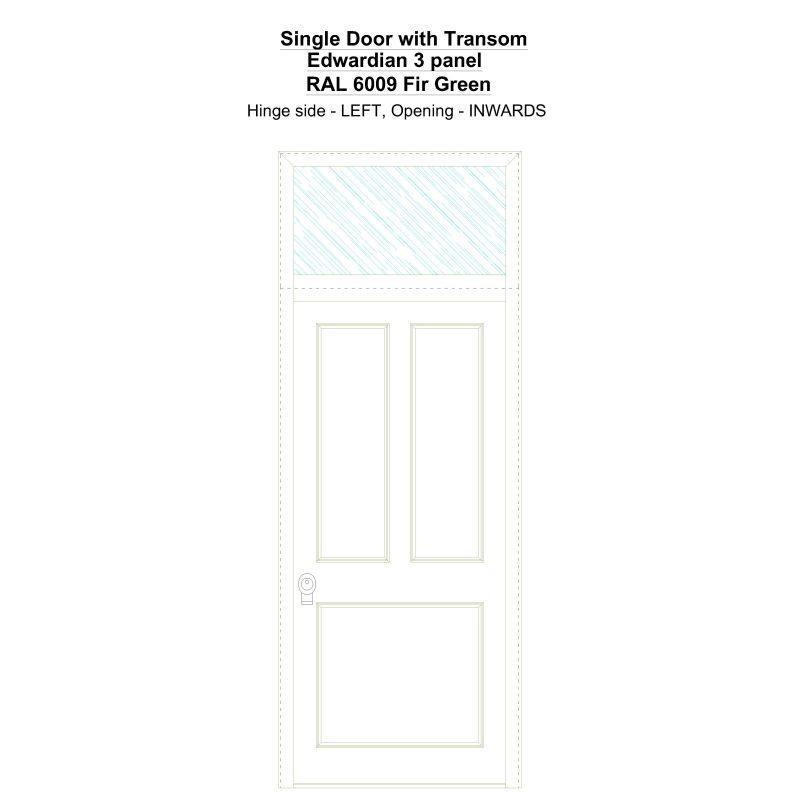 Sdt Edwardian 3 Panel Ral 6009 Fir Green Security Door