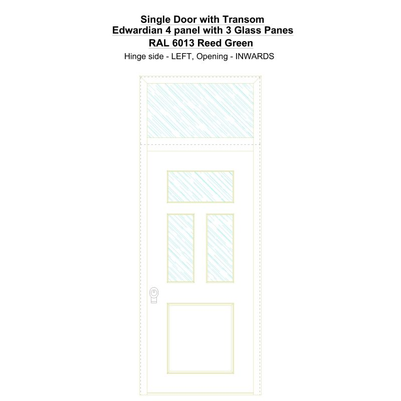 Sdt Edwardian 4 Panel With 3 Glass Panes Ral 6013 Reed Green Security Door