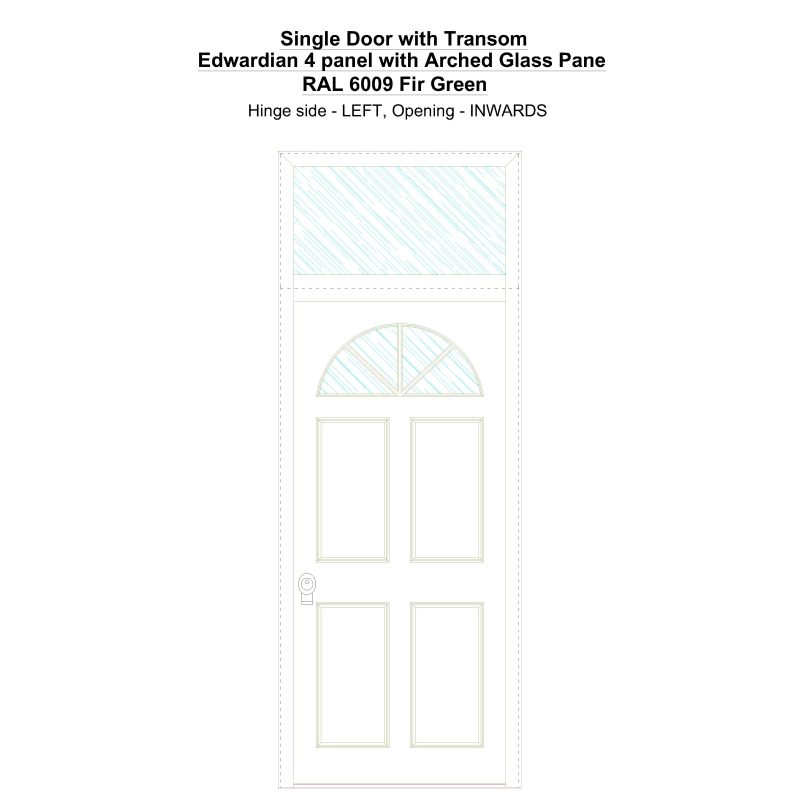 Sdt Edwardian 4 Panel With Arched Glass Pane Ral 6009 Fir Green Security Door