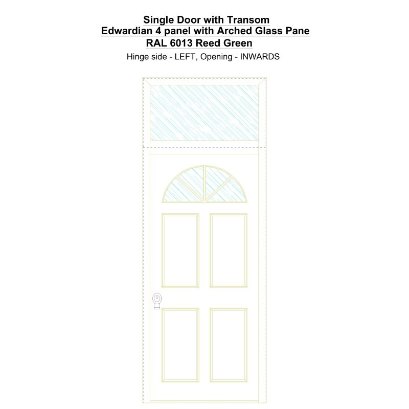 Sdt Edwardian 4 Panel With Arched Glass Pane Ral 6013 Reed Green Security Door