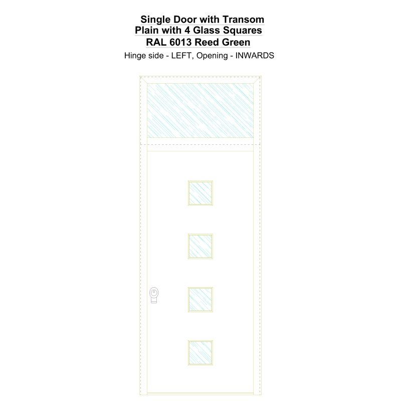 Sdt Plain With 4 Glass Squares Ral 6013 Reed Green Security Door