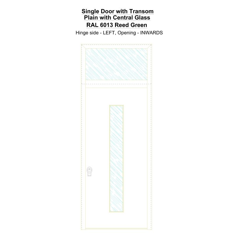 Sdt Plain With Central Glass Ral 6013 Reed Green Security Door