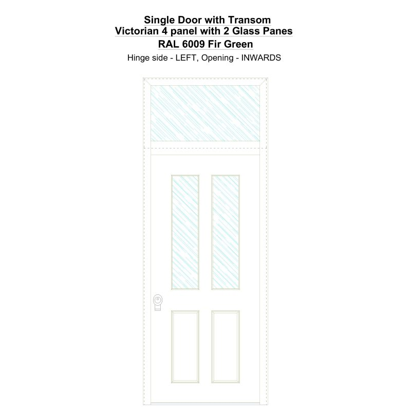 Sdt Victorian 4 Panel With 2 Glass Panes Ral 6009 Fir Green Security Door