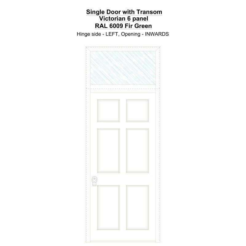 Sdt Victorian 6 Panel Ral 6009 Fir Green Security Door