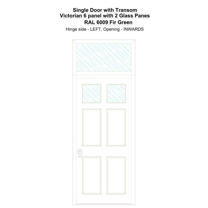 Sdt Victorian 6 Panel With 2 Glass Panes Ral 6009 Fir Green Security Door