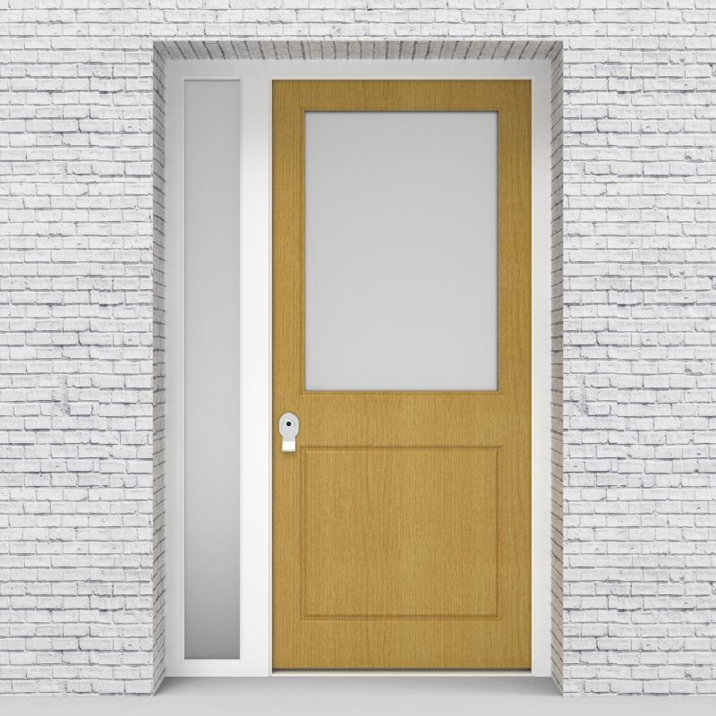 1.single Door With Left Side Panel 2 Panel With A Large Glass Pane Birch