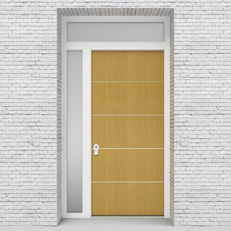 1.single Door With Left Side Panel And Transom 4 Aluminium Inlays Birch