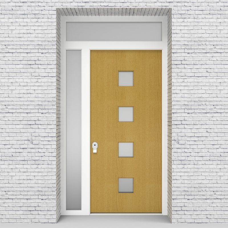 1.single Door With Left Side Panel And Transom Plain With 4 Glass Squares Birch