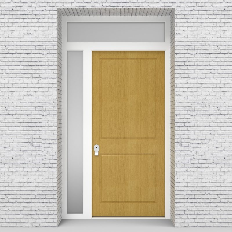 1.single Door With Left Side Panel And Transom Two Panel Birch